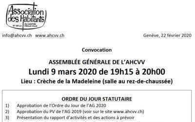 AHCVV Annulation de l'AG du 9.3.2020 face au coronavirus