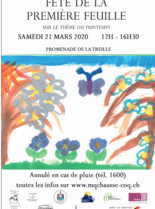 Fête de la première feuille 21 mars 2020 ANNULEE